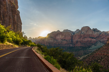 Landscape scenery at the Zion National Park, beautiful colors of rock formation in Utah - USA