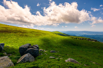 beautiful cloudy formations above the mountain top. lovely summer landscape. bright and fresh day, good mood. wonderful place for hiking and camping