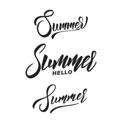 Summer. Set of Summer script calligraphy lettering