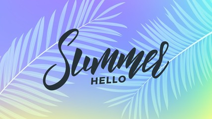 Summer. Trendy tropical background of holographic colors. Summer banner for promotion, sale, party events