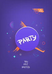 Party vertical dark banner. Vector illustration.