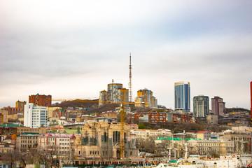 Vladivostok, Russia - Vay 08, 2018: view of the bridge over the Golden Horn Bay