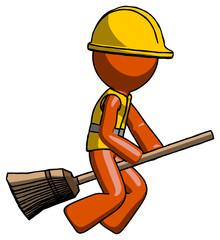 Orange Construction Worker Contractor Man flying on broom