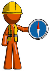 Orange Construction Worker Contractor Man holding a large compass