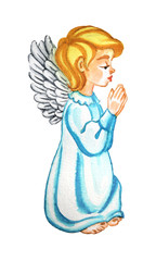 Praying angel. Watercolor hand drawn image.