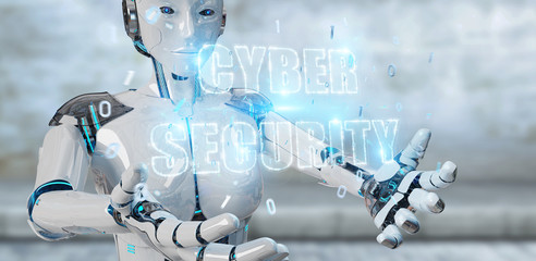 White humanoid woman using cyber security text hologram 3D rendering