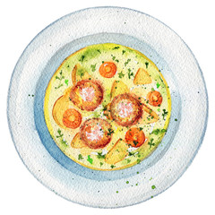Delicious soup on a plate with meatballs, dill, potatoes and carrots. Picture isolated at white background above view. Watercolor hand painted illustration