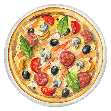 Delicious pizza on a plate with mushrooms, salami, olives and cherry tomatoes. Picture isolated at white background above view. Watercolor hand painted illustration