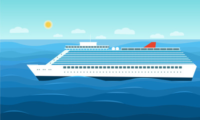 Luxury cruise ship in the ocean. Vector flat style illustration