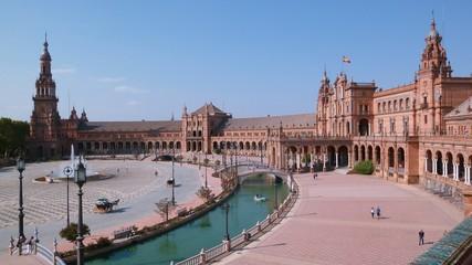 Séville, vue panoramique sur la place d'Espagne, en Andalousie (Espagne)