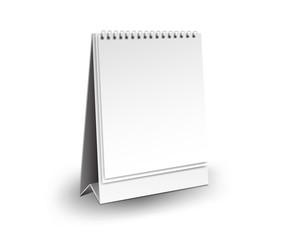 Blank desk calendar 3d mockup vector illustration, Vertical Realistic mockup  for Desk calendar template design, Vertical realistic paper calendar blank, White Background Isolated