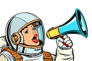 woman astronaut with megaphone isolate on white background