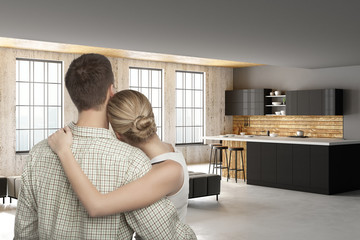 Young european couple in modern kitchen