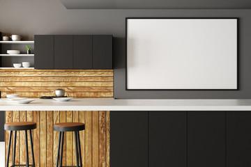Modern kitchen interior with blank poster