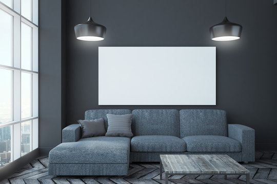Modern living room with banner