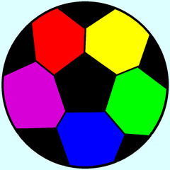 Rainbow soccer balls in a bright colors