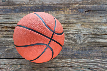 Basketball on wooden background