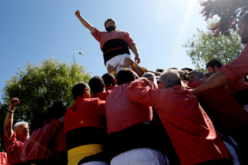 Castellers Colla Vella Xiquets de Valls form a human tower, during a protest to demand the release of jailed Catalonian politicians, at Soto del Real penitentiary