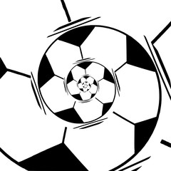 Abstract football spiral in a black - white colors