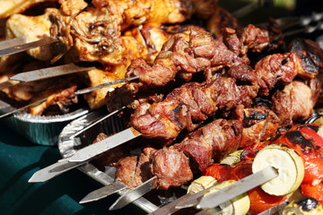Appetizing picture of shish kebab from beef and pork.