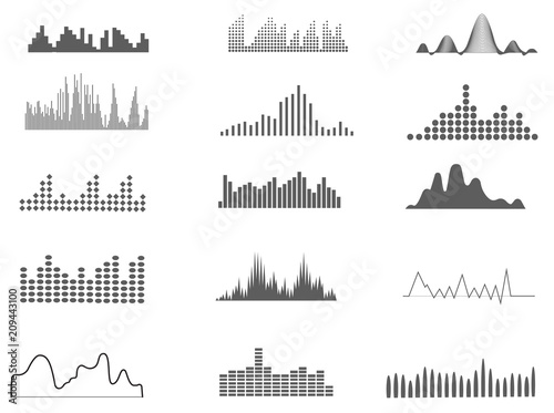 Sound waves represented graphically isolated on white background