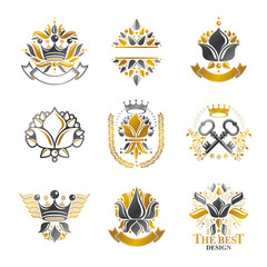 Flowers, Royal symbols, floral and crowns,  emblems set. Heraldic Coat of Arms decorative logos isolated vector illustrations collection.