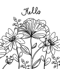 background monochrome drawing of flowers with the sign of hello on a white background