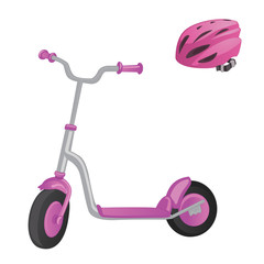 Pink roller scooter and helmet for children. Balance bike. Eco city transport. Vector kick scooter collection. Push cycle isolated on white.