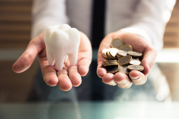 Person Holding White Tooth And Golden Coins