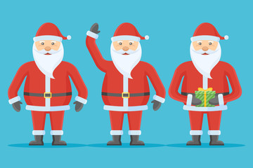 Set of Santa Claus character isolated on blue background. Flat style. Christmas vector illustration.