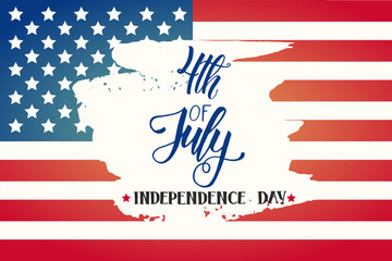 "Happy Independence Day poster. National american flag and Hand made lettering ""4th of July. Independence Day"".Greeting Background for holidays, postcards, websites"