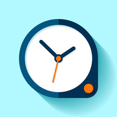 Clock icon in flat style, round timer on blue background. Simple business watch. Orange button. Vector design element for you project