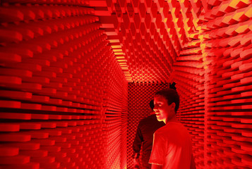 People visit an echo-free chamber designed by architect Briffa during the Notte Bianca (White Night) celebrations in Valletta
