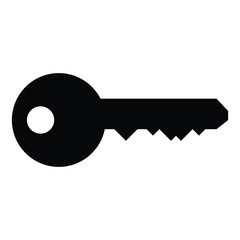 A black and white silhouette of a key