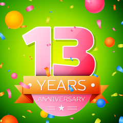 Realistic Thirteen Years Anniversary Celebration Design. Pink numbers and golden ribbon, confetti on green background. Colorful Vector template elements for your birthday party