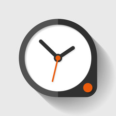 Clock icon in flat style, round timer on light background. Simple business watch. Orange button. Vector design element for you project