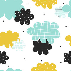 Cute scandinavian cloudy seamless pattern with stars. Vector hand drawn illustration.