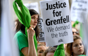 Protesters from Justice4Grenfell demonstrate outside Downing Street in central London