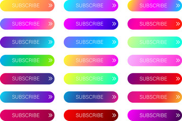 Colorful subscribe web buttons isolated on white.