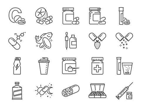 Vitamin and dietary supplement icon set. Included the icons as vitamin c, fish oil, whey protein, tablet, pills, medication, medicine and more