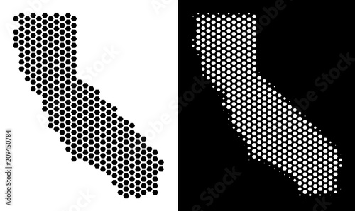Honeycomb California map. Vector territorial plan in black and white on