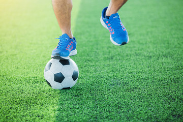 Soccer player jump and stomp for training