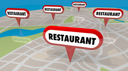Restaurant Dining Out Locations Map Pins 3d Render Illustration