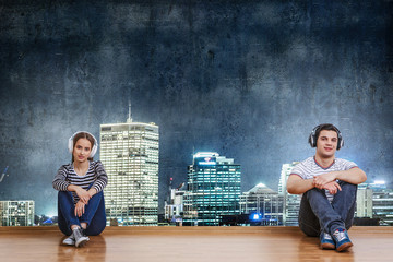 Teenagers listen music . Mixed media