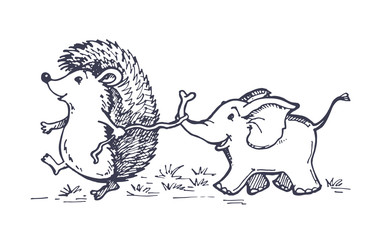 Hand drawn doodle animals - hedgehog and elephant