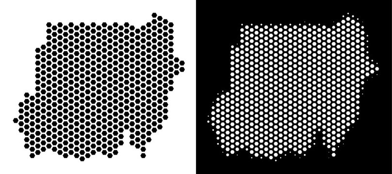 Hexagonal Sudan map. Vector territory scheme in black and white variants. Abstract Sudan map composition is formed from hexagon blots.