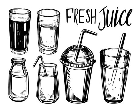 Set of glasses for drink. Hand drawn illustration converted to vector