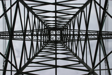 symmetric view in the center in a tower for power lines in the Hennipgaarde in Zevenhuizen, the Netherlands.