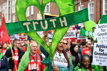 Protesters from Justice4Grenfell demonstrate in Westminster, central London