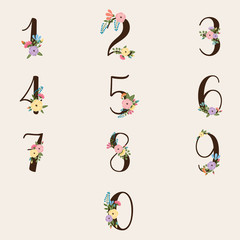 Calligraphis Numbers with Floral Decoration - vector eps20
